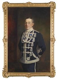 familie plank; damen und herrenportrait, in der uniform eines deutschen husaren (2 works) by carl langhorst