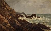 côte rocheuse en bretagne sud, près de pont-aven by auguste paul charles anastasi