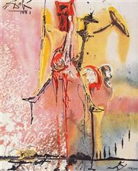 le chevalier moyenâgeux (seria les chevaux daliniens) by salvador dalí