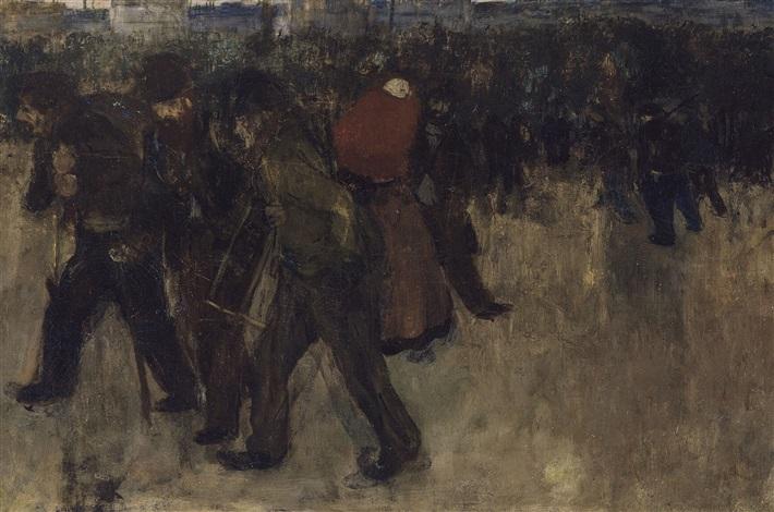 ouvriers revenant du travail by henri evenepoel