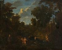 antikisierende landschaft mit badenden nymphen by cornelis huysmans