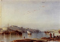 view of valletta harbour, malta by colonel edmund gilling hallewell