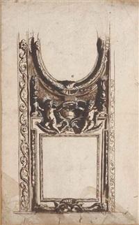 etude de plafond à décor de stucs avec deux putti tenant une couronne et entourés d'une paire de flambeaux by pietro da cortona