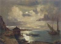 küstenlandschaft mit fischerbooten by a. herbe