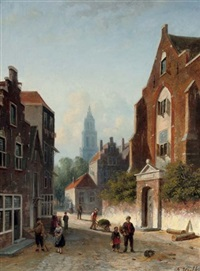 daily activities on a sunlit street by johannes frederik hulk the elder
