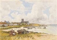 children on the beach, iona by robert weir allan