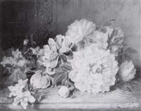 still life of flowers on marble by valentine bartholomew