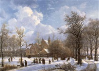 winter landscape with figures skating by anthony jacobus offermans