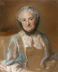 portrait de femme en buste by maurice quentin de la tour