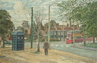 london street scene with bus by leslie wollaston