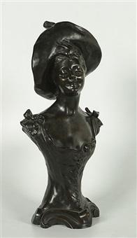 lachend meisje met hoed by henri godet