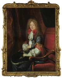 portrait of philippe d'orléans, duc de chartres, wearing a long wig, embroidered coat, a white glove and holding a hat, in a draped interior by louis ferdinand elle the elder