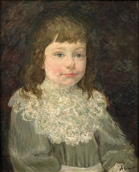 portrait d'enfant a la collerette blanche by henri lebasque