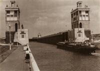 moscow-volga canal, lock #8 by boris ignatovich