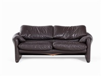 2 leather sofas by vico magistretti