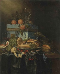 grapes, peaches, cherries and other fruit, with a chest and a goblet, on a draped table by pieter de ring