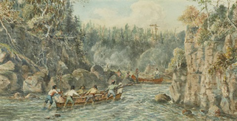 indians preparing to portage by william wallace armstrong