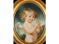 a portrait of a child in the character of cupid by john russell