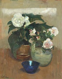 still life with flowers by carl fischer