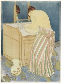 woman bathing (la toilette) by mary cassatt