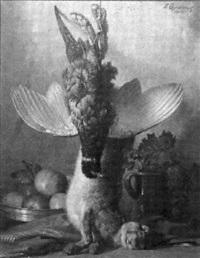 jagdstilleben mit wildhase und fasan by fritz quidenus