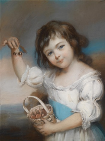 bildnis eines jungen mädchens mit einem mit kirschen gefüllten korb by john russell