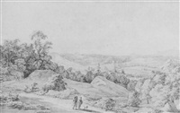 panoramic landscape with figures on a road in the foreground by tethart philip christian haag