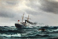 seascape with a streamer in high waves by vilhelm victor bille