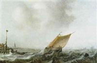 ein segelboot auf bewegter see vor der kueste by arnoldus van anthonissen