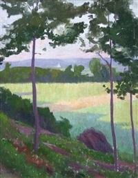 paysage aux grands arbre by henry bouvet