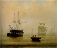 boston harbor by fitz henry lane