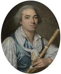 portrait d'un jeune musicien tenant une flûte by antoine vestier
