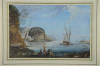 pêcheurs au bord de la mer près d'une rotonde en ruines by alexandre jean noel