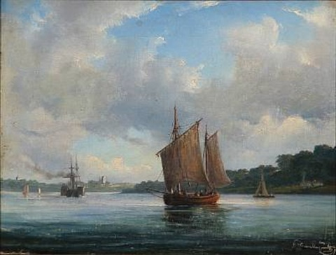 fjord scene with fishing boats and a paddle steamer by daniel hermann anton melbye
