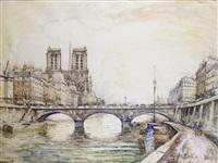 paris, le pont saint-michel et la cathédrale notre-dame by frank-will