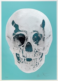 till death do us part - heavenly peppermint green silver gloss racing skull by damien hirst