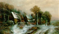 figures in a winter village landscape by h. a. newey
