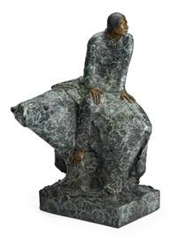 woman seated on a polar bear by jean juhlin