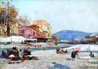 lavandières au bord du paillon by alberto vianelli