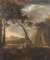 an italianate landscape with travellers on a country path by bartholomeus appelman