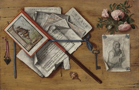 a trompe loeil still life with letters and other objects on a board by antonio cioci