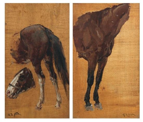 chevaux study pair by alphonse marie de neuville