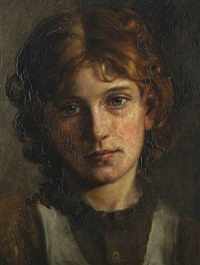 young girl in brown clothes by wenzel ulrik tornoe