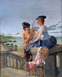 french coastal scene with romantic couple by valère alphonse morland