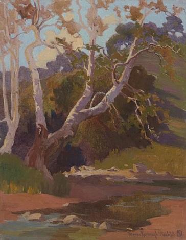 oaks along a stream by marion kavanaugh wachtel