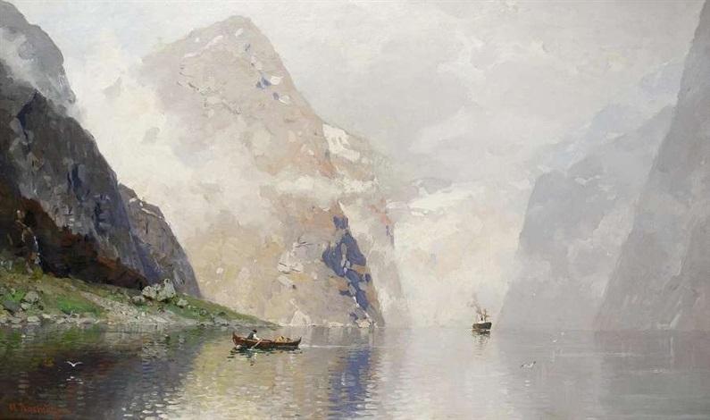dampfer im fjord by georg anton rasmussen