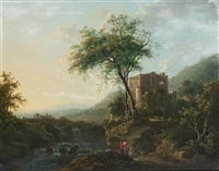an italianate landscape with a family on a riverside path, a waterfall beyond (+ an italianate landscape with a horseman and his dog beside a river; pair) by abraham pether