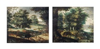 the creation of eve; and adam and eve in paradise (pair) by roelandt savery