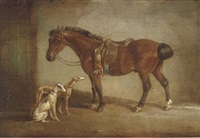 a saddled pony with two hounds by h. s. cottrell