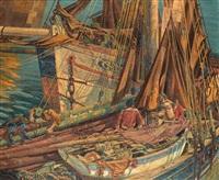 breton crabbers, newlyn by john duncan